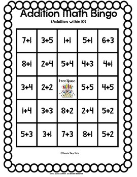 Addition Number Equation Bingo
