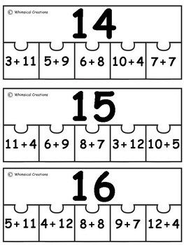 Addition Number Puzzles (0-25)