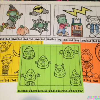 Addition Number Puzzles- Halloween Themed