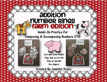 Addition Number Rings 0-10 ~Farm Edition~ Hands-On Center & Printables!