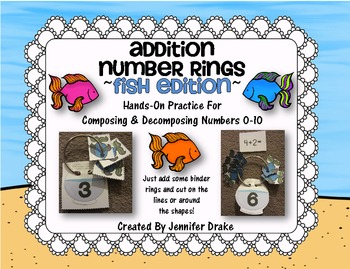 Addition Number Rings 0-10 ~Fish Edition~ Hands-On Center & Printables!