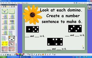 Grade 1 Addition Number Sense Ways to Make Sums of 6 - ActivInspire Flipchart