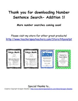 Addition Number Sentence Search