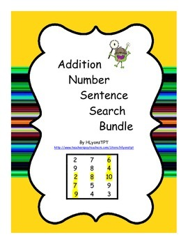 Addition Number Sentence Search Bundle