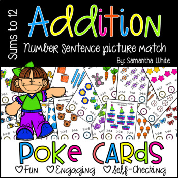 Addition Number Sentence with Pictures {Poke Cards}