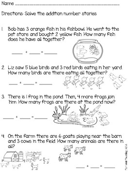 Addition Number Stories Word Problems