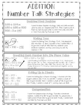 Addition Number Talk Strategies Chart