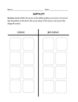 Addition (One-Digit plus One-Digit) : Cut, Sort, and Paste Activity