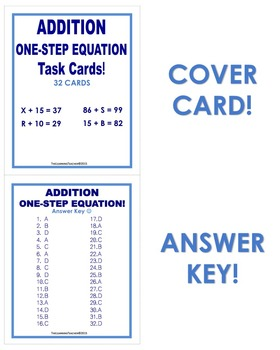 Addition One-Step Equation Task Cards