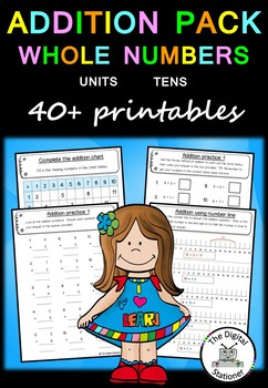 Addition Pack Whole Numbers (Units and Tens)  – 40+  PRACTICE printables