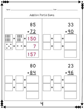 Addition: Partial Sums with Base Ten Blocks (With Composing)