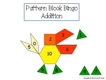 Addition Pattern Block Bingo