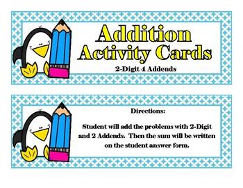 Addition Penguins - 2 Digit 4 Addends