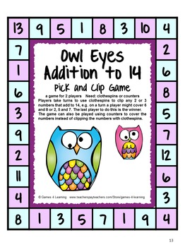 Addition Games - Pick and Clip Addition Facts Games