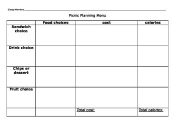 Addition Picnic Plan Activity