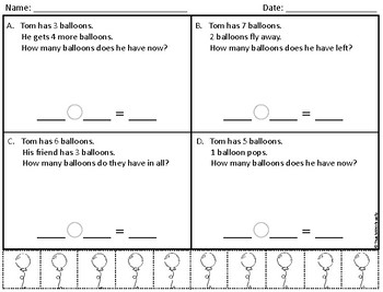 Beginner - Mixed Addition/Subtraction Word Problems (12 Worksheets)