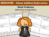 Beginner - Mixed Addition/Subtraction Word Problems (12 Wo