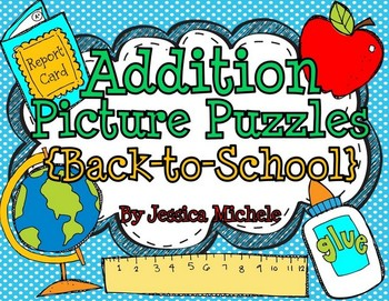 Addition Picture Puzzles {Back-to-School}