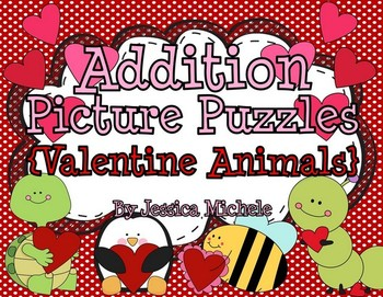Addition Picture Puzzles {Valentine Animals}