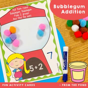 Addition Play Dough Mats - Bubblegum Theme