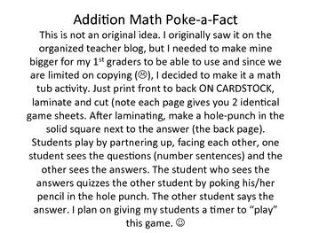 Addition Poke-a-fact