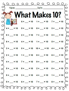 Addition Facts Practice: +0 through +10 and What Makes 10?