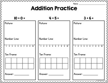Addition Practice - Number Lines, 100 Charts, Ten Frames, & More!