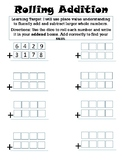 """Addition Practice Activity-""""Rolling Addition"""""""