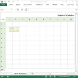 Addition Practice Excel Worksheet