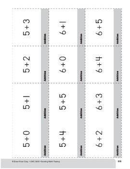 Addition Practice Flashcards, Grade 1