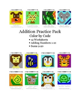 Addition Practice Pack Color by Code Numbers 1-10 Sums 2-20