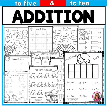 Addition Practice Printables for Young Learners (to 5 & to 10)