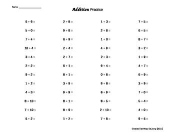 Addition Practice - Self-Generating Worksheet