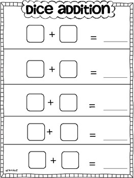 Addition Practice Sheets {Using Dice}