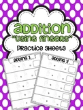 Addition Practice Sheets {Using Fingers}