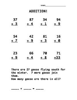 Addition Practice Sheet (2 digit + 1 digit)
