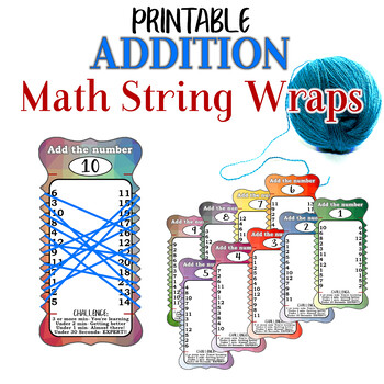 Addition Practice String Wraps cards for mental math memorization