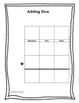 Addition Practice With Dice