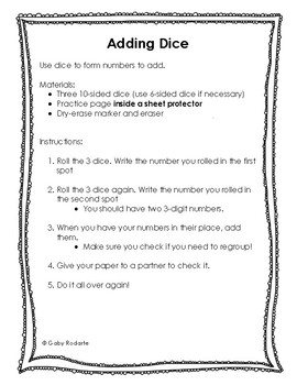 Addition Practice With Dice FREEBIE