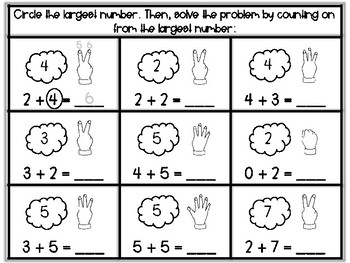 Addition Practice Within 10: Counting On Strategy