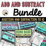 Addition Practice and Subtraction Practice Sheets Bundle