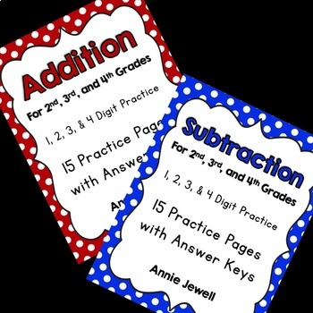 Addition and Subtraction Worksheets for 2nd, 3rd, and 4th Grades BUNDLE