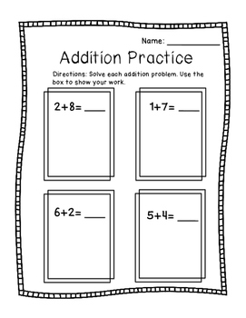 Addition Practice to 10 FREEBIE!