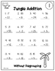 Addition Practice with Answers to 100 - Jungle Theme