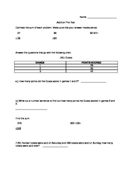 Addition Pre-Test for 3rd Grade