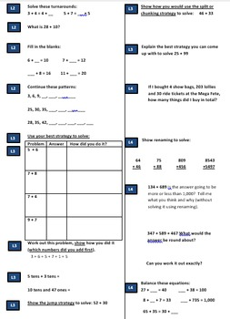 Addition Assessment Grade 1, 2, 3, 4, 5 and 6 Pre & Post Test CCSS & Aus Curric