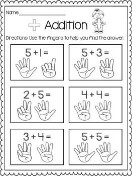 Addition Print & Practice: Counting Fingers