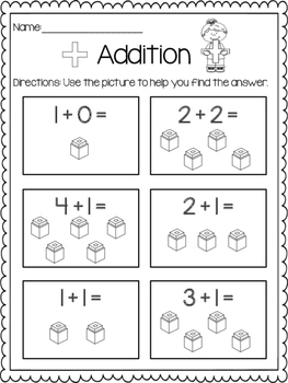 Addition Print & Practice: With Pictures (cubes)