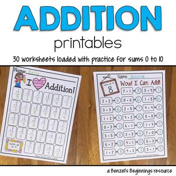 Addition Worksheets {sums to 10}