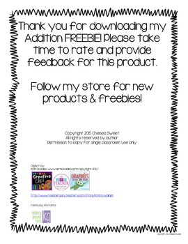 Addition Printables FREEBIE!